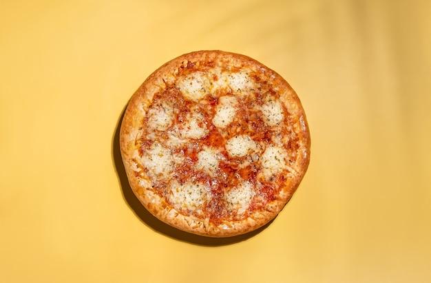 ビーガンチーズとトマトソースのベジタリアンピザチーズピザマルゲリータの上面図