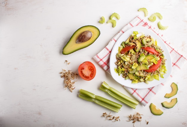 Vegetarian salad of celery, germinated rye, tomatoes and avocado on linen tablecloth