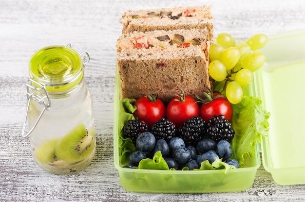 Vegetarian sandwich and berries