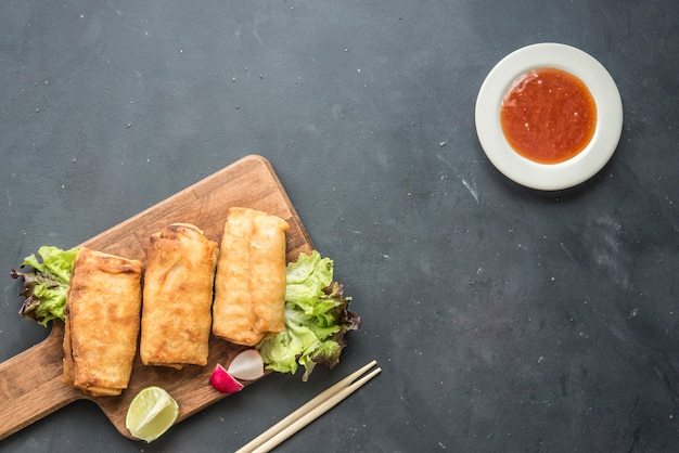 Vegetarian spring roll with  sweet sauce