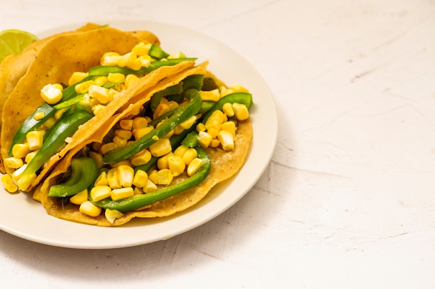 Vegetarian taco on plain background