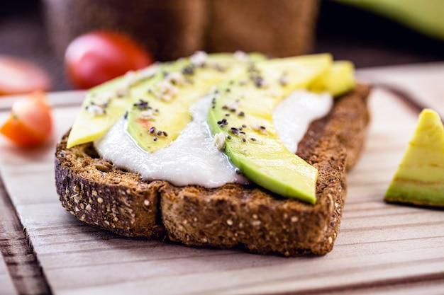 Vegetarian toast, whole grain bread with avocado.