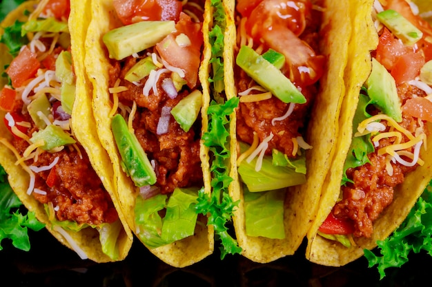 Vegetarian tortilla tacos with grilled vegetables