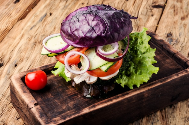 Veggie burger on wood table