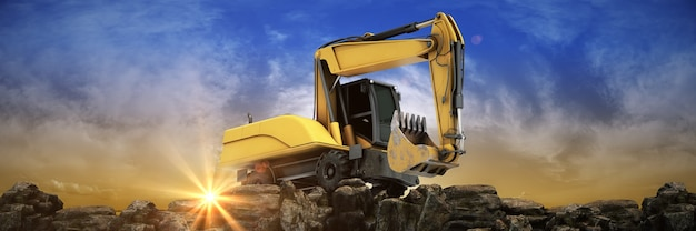 Vehicle construction at sunset 3d rendering