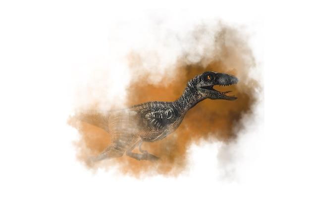 煙の背景にヴェロキラプトル恐竜