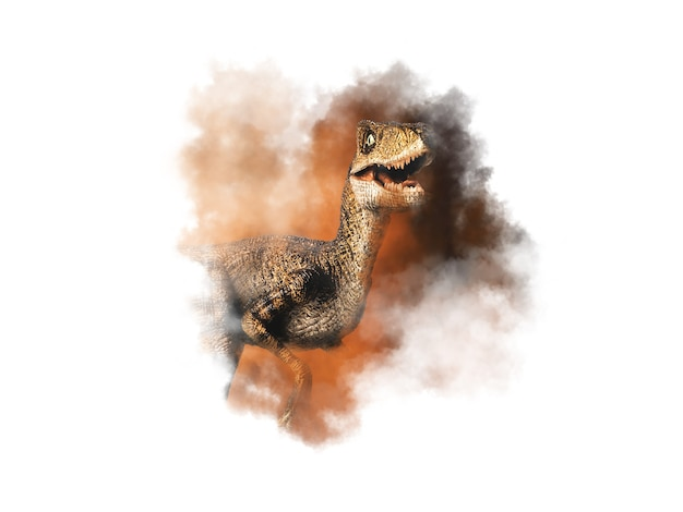 Динозавр велоцираптор на фоне дыма