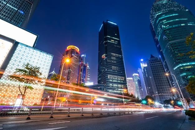 Velocity effect of lujiazui city night in shanghai