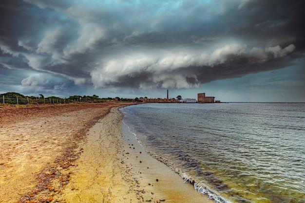 Vendicari beach and coast in sicily.