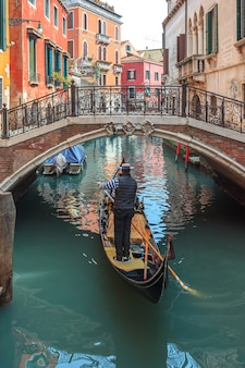 Venetian canal with gondolas and historic houses.