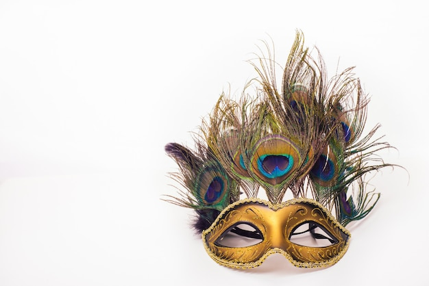 Venetian carnival mask with peacock feathers on white