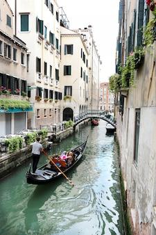 Venetian gondola rowing