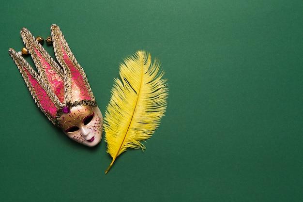 Venetian mask and big feather