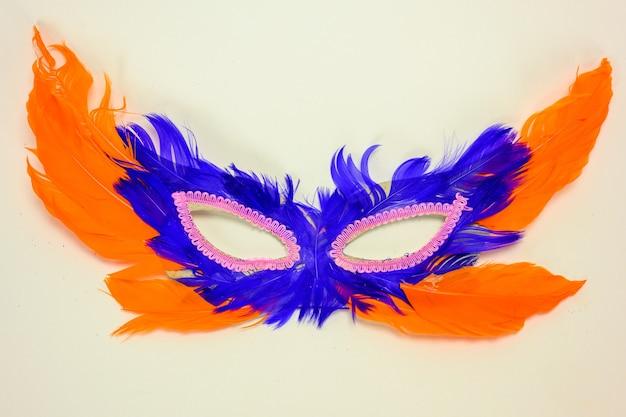 白い背景の上の羽で作られたベネチアンマスク。