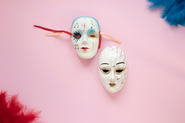 Venetian masks and feathers