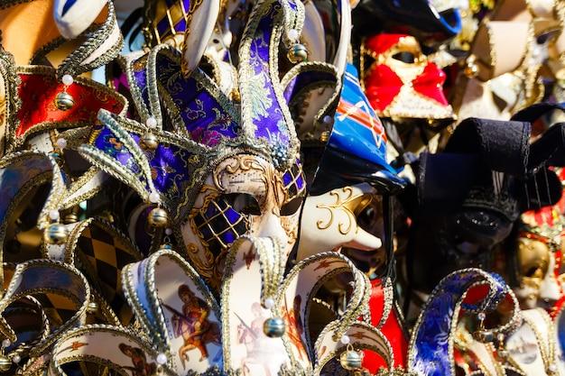 Venetian masks in store display in venice.