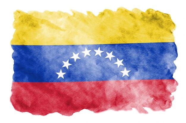 Флаг венесуэлы изображен в жидком стиле акварели на белом