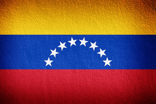 Venezuela flag on the old wall texture