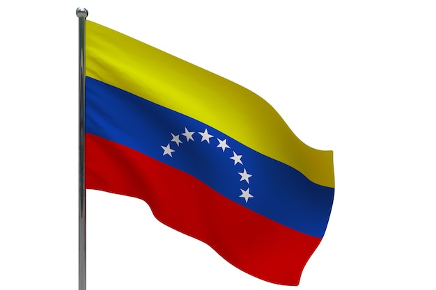 Venezuela flag on pole. metal flagpole. national flag of venezuela 3d illustration on white