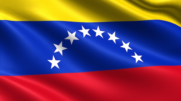 Venezuela flag, with waving fabric texture