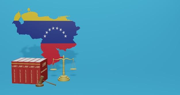 Закон венесуэлы для инфографики, контента социальных сетей в 3d-рендеринге