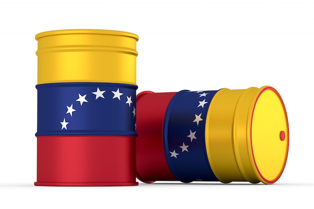 Venezuela oil styled flag barrels isolated on white