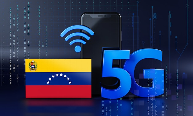 Venezuela ready for 5g connection concept. 3d rendering smartphone technology background