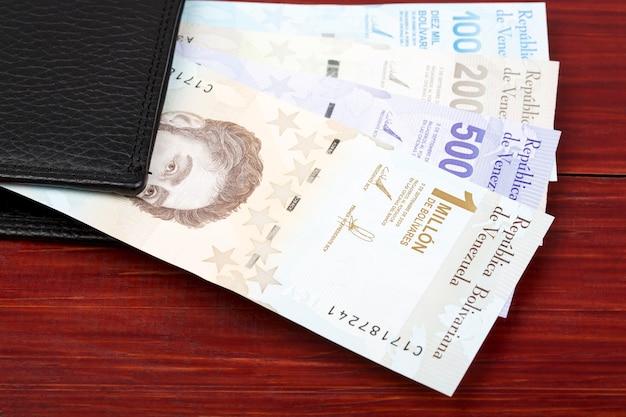 Venezuelan bolivar in the black wallet
