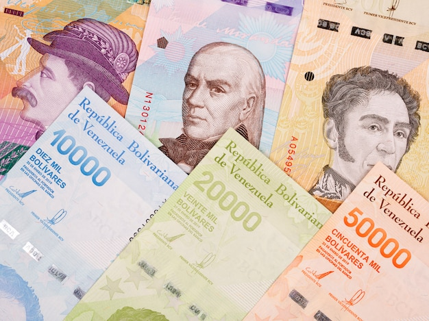 Venezuelan bolivar a business surface with new series of banknotes