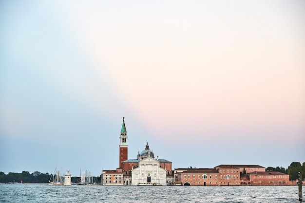 Venice city with famous cathedral on water