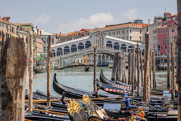 Venice, italy 2 july 2020: rialto bridge in venice in italy