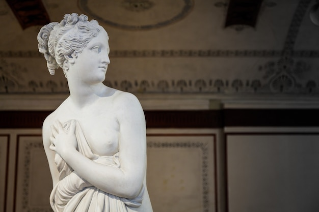 베니스, 이탈리아 - 2016년 6월 27일: 두칼레 궁전 박물관에서 금성 동상 세부 사항