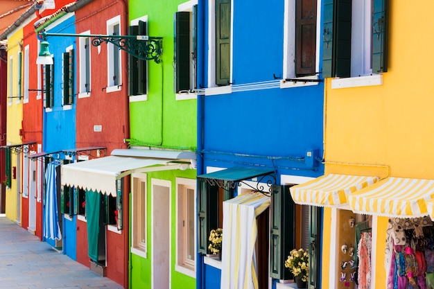 Venice landmark, burano island, colorful houses