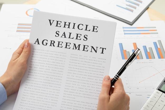 Venicle販売契約の概念、デスクトップ上のドキュメント