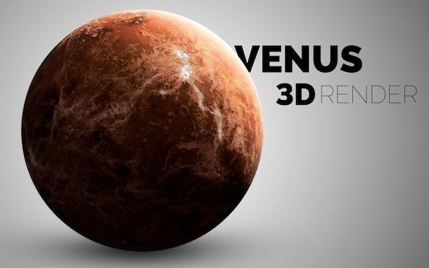 Венера. набор планет солнечной системы в 3d. элементы этого изображения, предоставленные наса