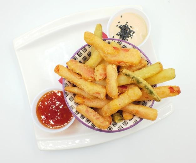 Verduras fritas en tempur