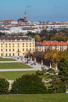 Verical cityscape with half of buildings schonbrunn palace in vienna, austria and roofs of other historical houses on a background of blue sky on an autumn day.