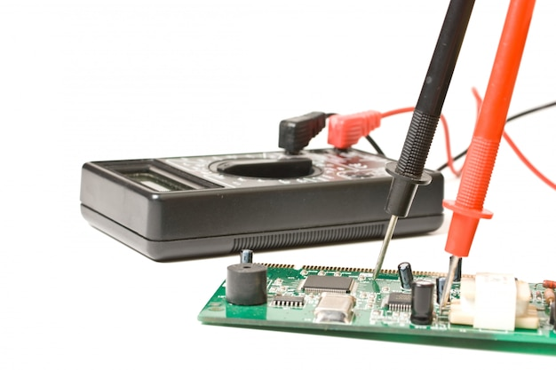 Verification testing of electronic boards digital multimeter