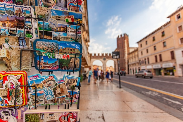 Verona, italy 10 september 2020: iconic view of verona with postcards
