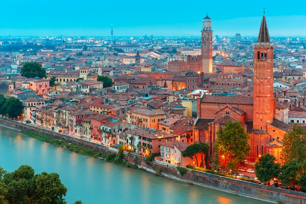 Verona skyline with santa anastasia church and lamberti tower, italy