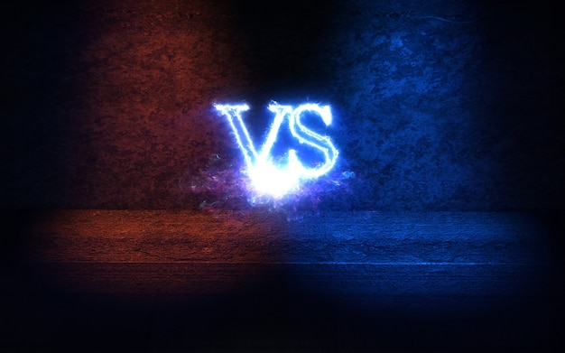 Versus background with blue and red glow rays 3d illustration