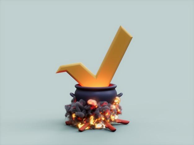 Vert 가마솥 화재 요리사 암호화 통화 3d 그림 렌더링