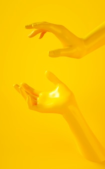 Vertical 3d rendering of two yellow hands on yellow background