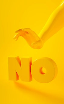Vertical 3d rendering of yellow hand on yellow background with word no