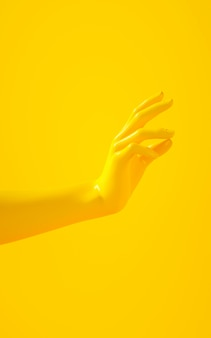 Vertical 3d rendering of yellow hand on yellow background