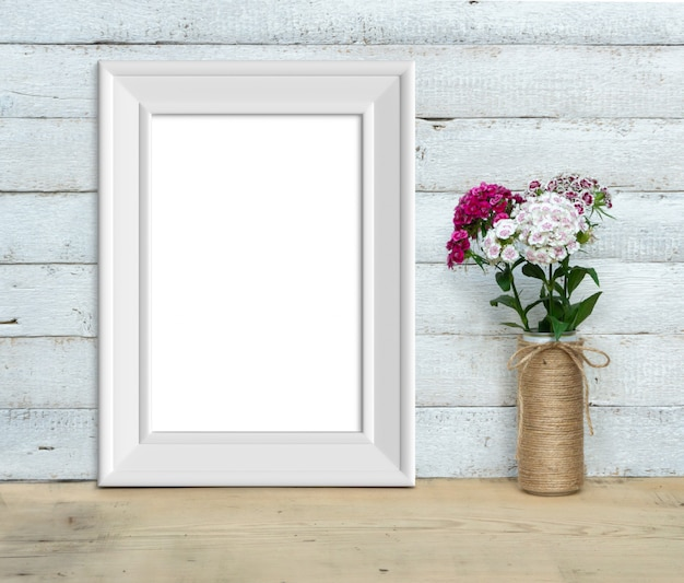 Vertical a4 vintage white wooden frame near a bouquet 3d rendering