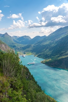 Vertical bird-eye shot fo the view of geirangerfjord, norway