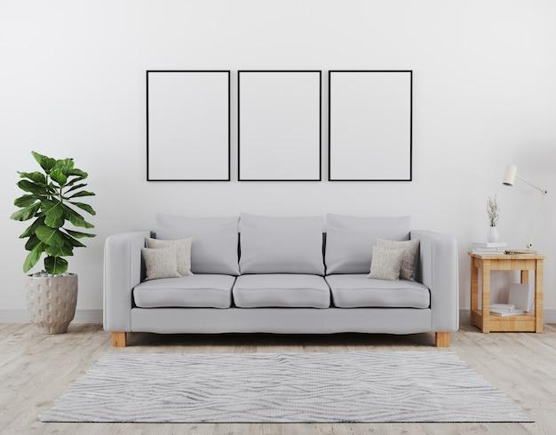 세로 검은 포스터 프레임을 조롱. 회색 소파 이랑 현대 거실입니다. 스칸디나비아 스타일, 아늑하고 세련된 인테리어. 3d 렌더링