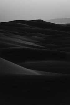 Vertical black and white shot of erg desert