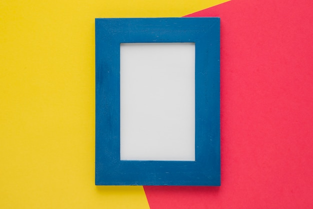 Vertical blue frame with bicolor background